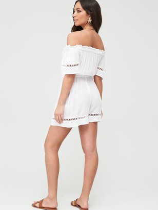 Very Crinkle Lace Trim Bardot Beach Playsuit - White