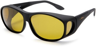 Foster Grant Haven Fit On Sunwear Meridian Fit On Sunglasses Black Frame/Yellow Lens one size