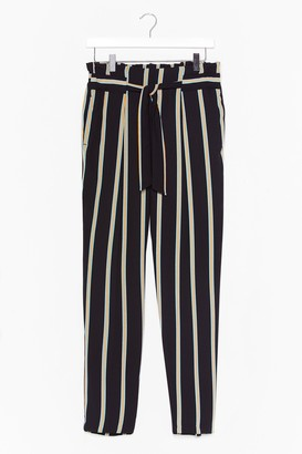 Nasty Gal Womens Right on Line Belted Striped Trousers - Black - 12