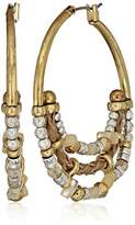 Lucky Brand Beaded Metal Hoop Earrings