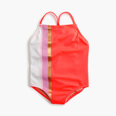 J.Crew Girls' one-piece swimsuit in colorblock stripes