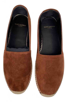 Saint Laurent Monogram Brown Suede Espadrilles