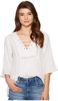 BB Dakota Geoff Cotton Gauze Lace-Up Top with Novelty Ribbon Trim Women's Clothing