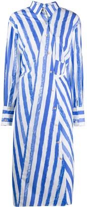 REJINA PYO Button Down Striped Print Shirt Dress