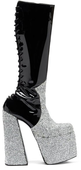 Thumbnail for your product : Harris Reed X Roker - The H Crystal And Patent-leather Platform Boots - Black Multi