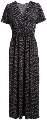 Jon & Anna jon & anna Women's Maxi Dresses BLACK - Black & Gray Floral Geometric Short-Sleeve Surplice Maxi Dress - Women