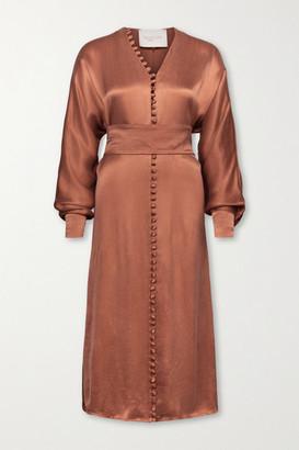 Envelope1976 - + Net Sustain Cannes Cupro-blend Satin Midi Dress - Brick