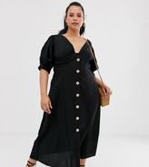 Asos DESIGN Curve button through twist front maxi tea dress in seersucker