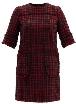Dolce & Gabbana Patch-pocket Wool-tweed Shift Dress - Black Red