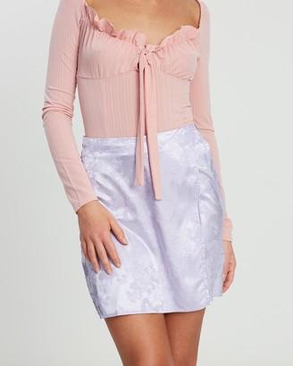 Missguided Oriental Silky Side Split Mini Skirt