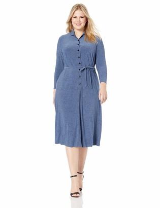 Anne Klein Women's Size Plus Long Sleeve Knit Button Down Dress