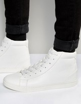 Asos Lace Up Mid Top Sneakers in White