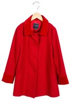 Oscar de la Renta Girls' Velvet-Trimmed Wool Coat
