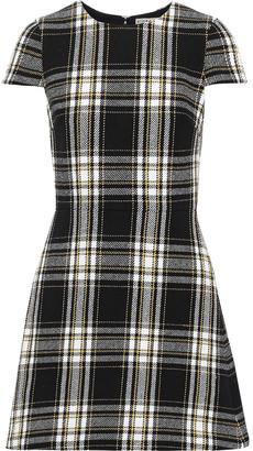 Alice + Olivia Malin Checked Cotton-blend Mini Dress