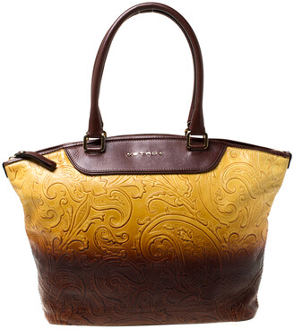 Etro Yellow/Brown Ombre Paisley Embossed Leather Zip Tote