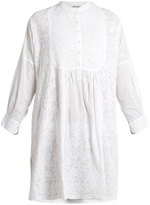 Juliet Dunn Embroidered cotton-voile kaftan