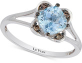 LeVian Le Vian® Chocolatier Aquamarine (3/4 ct. t.w.) and Diamond Accent Ring in 14k White Gold