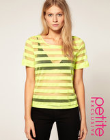 ASOS PETITE Exclusive T Shirt With Neon Stripe