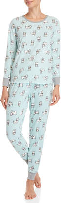 Pillow Talk Two-Piece Printed Waffle Velour Pajama Set