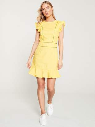 Very Ladder Trim Linen FlippyDress - Yellow