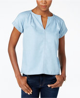 Calvin Klein Jeans Chambray Split-Neck Top