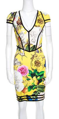 Roberto Cavalli Yellow Fruit and Floral Print Contrast Trim Detail Punto Dress S