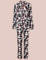Marks and Spencer Satin Floral Print Long Sleeve Pyjamas