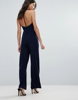 Club L Satin Jumpsuit With T Bar Back
