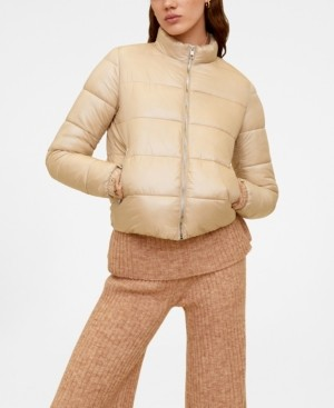 MANGO Side Zip Quilted Coat