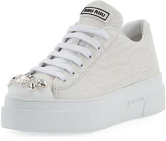 Miu Miu Crocodile-Embossed Platform Sneakers