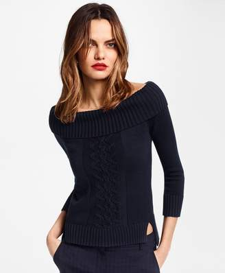 Brooks Brothers Supima Cotton Portrait-Neck Sweater