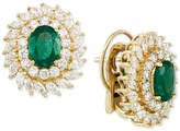 RARE Featuring GEMFIELDS Certified Emerald (1-9/10 ct. t.w.) and Diamond (2-1/3 ct. t.w.) Stud Earrings in 14k Gold