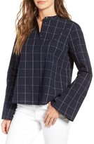Madewell Women's Windowpane Bell Sleeve Shirt