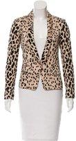 Tibi Leopard Printed Plunge Blazer
