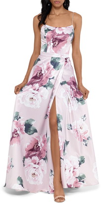 Xscape Evenings Floral Print Satin Ballgown