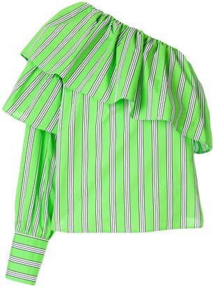 MSGM Asymmetric Ruffle Trim Shirt