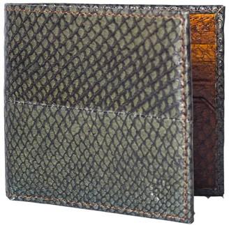 Mayu Carlos - Fish Leather Bi-Fold Wallet Moss and Cognac