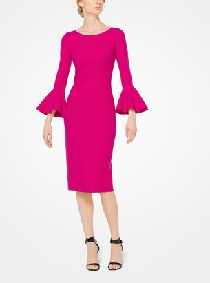 Michael Kors Collection Bell-Cuff Stretch Wool-Crepe Sheath Dress
