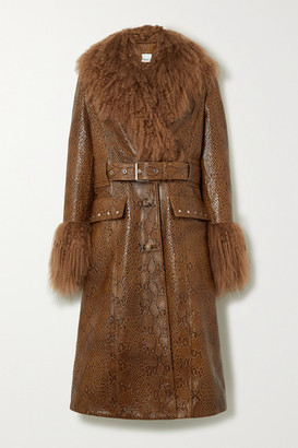 Burberry Wetherby Belted Shearling-trimmed Snake-effect Leather Coat - Brown