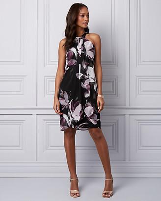Le Château Floral Print Chiffon & Knit Halter Dress