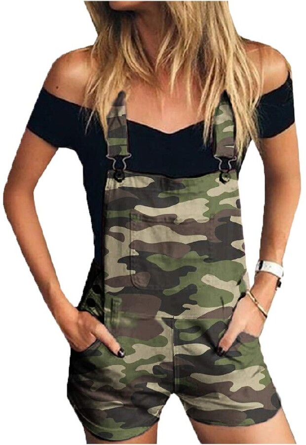 Military Summer Woman Jumpsuit Sleeveless One Piece Suit Open Back Festival Onesie Military Clothing Loose Bohemian Military Green Overall