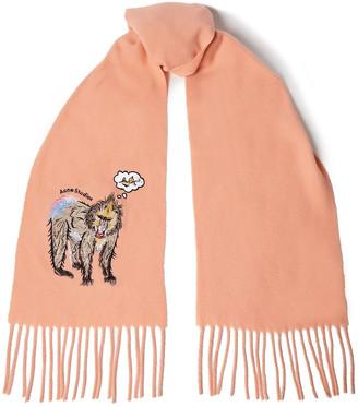 Acne Studios Fringed Embroidered Wool-felt Scarf