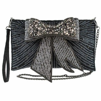Mary Frances Night Out Beaded 3D Bow Crossbody Clutch Handbag