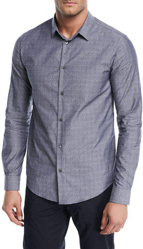 Emporio Armani Dot-Print Chambray Sport Shirt