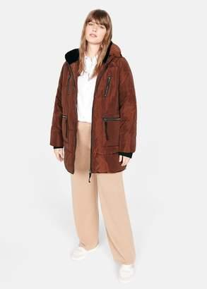 MANGO Violeta BY Faux fur hood coat copper - XS - Plus sizes