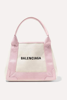 Balenciaga Cabas Xs Aj Leather-trimmed Printed Canvas Tote - Beige