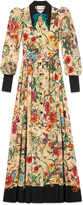Gucci Flora Snake silk long sleeve gown