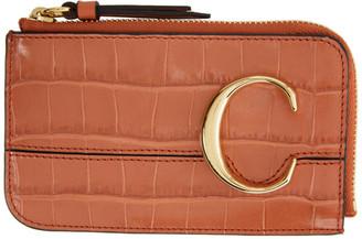 Chloé Orange Croc Small C Zip Around Card Holder