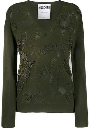 Moschino floral bead embroidered jumper