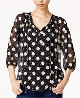 Maison Jules Sheer Printed Top, Only at Macy's